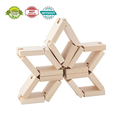 KUBI DUBI Essential Toys Wooden Blocks for Toddlers Early Kids Interconnecting Made Mostly by Hand Not in China