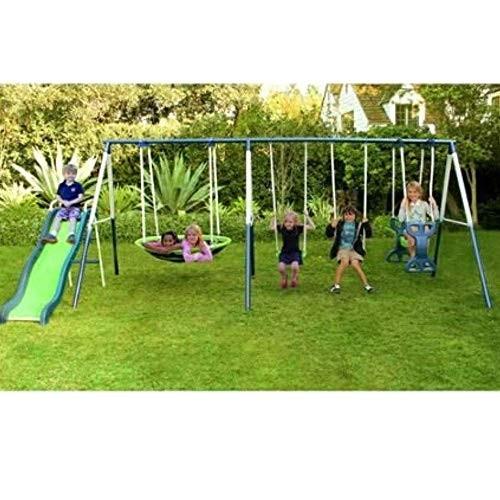 Metal Swing Set with Slide for Backyard Outdoor Kids Fun Play Backyard Durable Construction