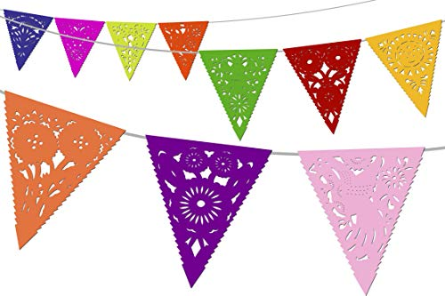 Fiesta Decorations Rainbow Pennant Banner Mexican Paper Banderines 5 PK Triangle Flags 17×18 Over 60 Total feet to Decorate for Cinco de Mayo Coco Birthday Parties TG1
