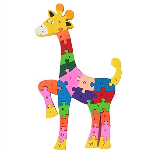 Queenie Colorful Wood Deer Education Puzzle Pieces Numeric Letters Wooden Animal Toys Building Blocks Enhance The Baby Intelligence Jigsaw