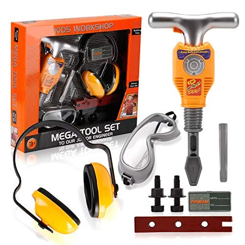 Liberty Imports Junior Engineer Jackhammer Toy Construction Tool Drill with Earmuffs Safety Goggles and Accessories