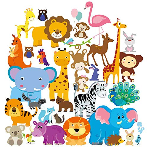 Wall Decals – Safari Adventure Decorative Peel & Stick Animal Art Sticker for Baby's Kids Room Nursery and Playroom 55 PCS