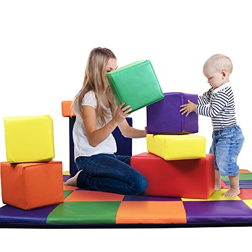 Dream Tree Building Blocks Set of 8 Washable Non-Toxic CPSIA Compliant Learning Toys Soft Foam for Toddler Baby Kids and Preschool