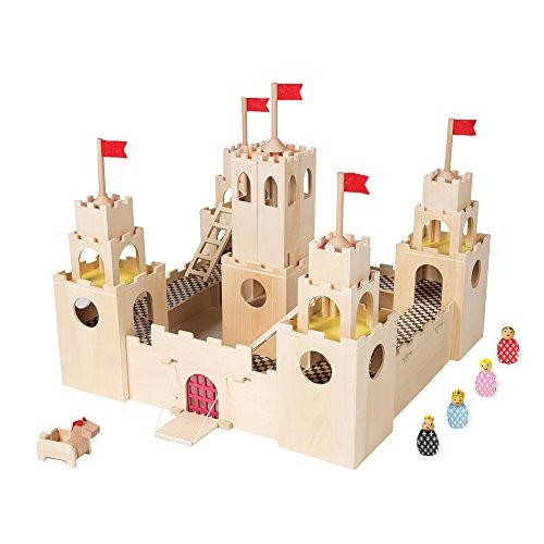 MiO Wooden Castle + Horse 4 Bean Bag People Peg Dolls Imaginative Montessori Style STEM Learning Modular Building Playset for Boys and Girls 3 Years Up by Manhattan Toy