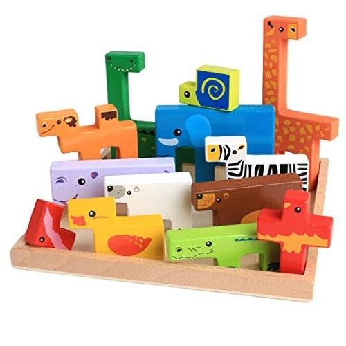 Danni Baby Wood Toys 3D Block Animal Building Blocks Stack Beech Creative Children Birthday