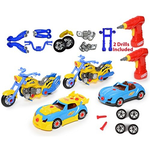 Take Apart Racing CAR & MOTORCYCLE Toys – Build Your Own Toy with 52 Piece Constructions Set Both Comes Engine Sounds Lights Drill Tools For Kids
