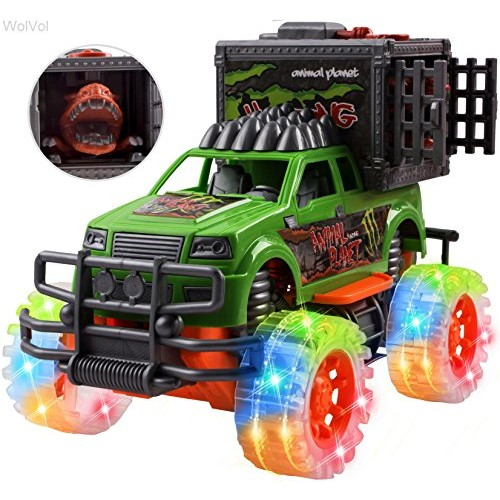 WolVolk Off-Road SUV Jungle Dinosaur Car – Friction Powered Dino Cage Truck w/ Lighted