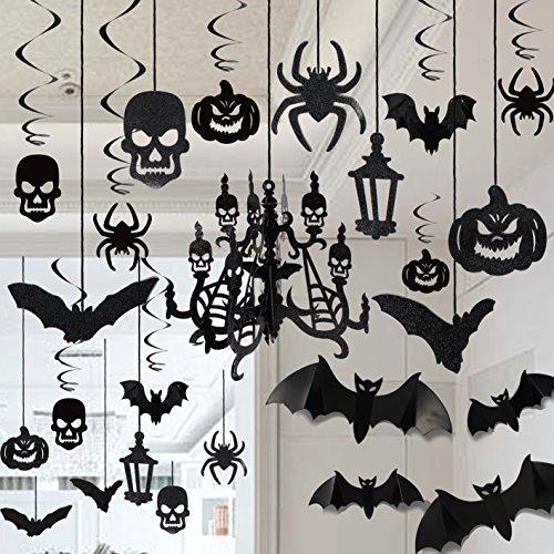 JOYIN Halloween Haunted House Chandelier Decoration Swirl Ceiling Hanging and Wall Set