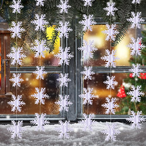 BBTO Pack 3D Snowflake Hanging Decorations for Christmas Party Holiday New Year Decoration White 984 Feet Each Total 2952
