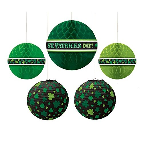 amscan Party Supplies St Patrick's Day Hanging Bouquet Decorations Multisizes Green 5ct