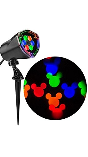 Gemmy Mickey Mouse Disney Fantastic Flurry Multi-function Red Green Blue Yellow LED Multi-design Christmas Outdoor Stake Light Projector