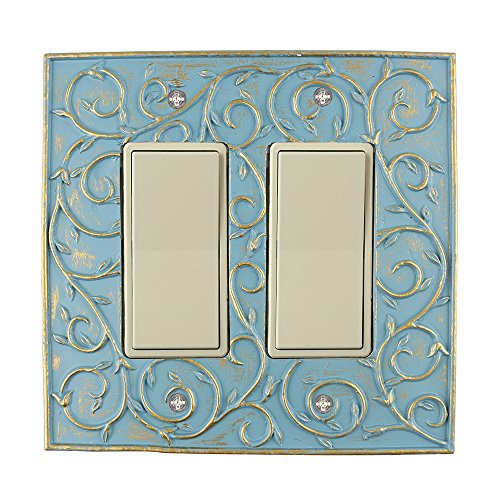 Meriville French Scroll 2 Rocker Wallplate Double Switch Electrical Cover Plate Cameo Blue with Gold