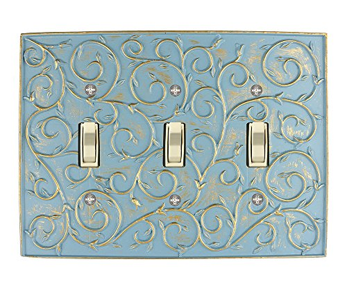 Meriville French Scroll 3 Toggle Wallplate Triple Switch Electrical Cover Plate Cameo Blue with Gold