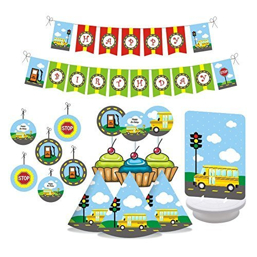 W&N Distribution Wheels on The Bus Birthday Party Decorations Includes Hats Centerpieces Bunting Banner Danglers and Cupcake Toppers