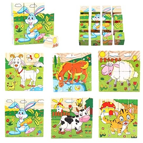 PROW 16 Pcs Wood Cube Blocks Puzzle Jigsaw 6 Animal Hexahedron Including Goat Sheep Horse Cows Tiger Rabbit Safe and Non-Toxic Building Toy for Toddlers Kids