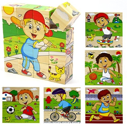 PROW Wooden Jigsaw Puzzles Creativity Cube Blocks Toddler Enlightenment Toys Building Sporting Boys Series -Basketball Baseball Football Running Skateboard Bicycle 16 Piece