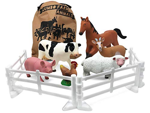 Plastic Farm Animals for Toddlers – 10 Piece Jumbo Set Includes Fences and Carrying Bag