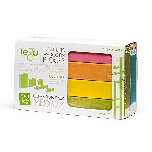 Tegu 22 Piece Magnetic Wooden Building Block Toy Set Expansion Pack Medium Tints Girl-Boy Educational STEM Gift For Ages 1 6+ Years Old