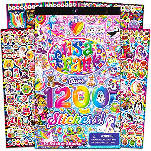 Lisa Frank 1200 Stickers Tablet Book 10 Pages of Collectible Crafts Scrapbooking
