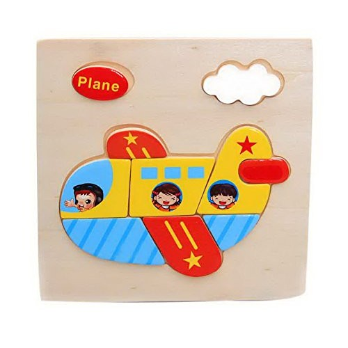 Gentle Meow Wooden Stereo Puzzles Kids Toys Building Block Plane Puzzle + Cat
