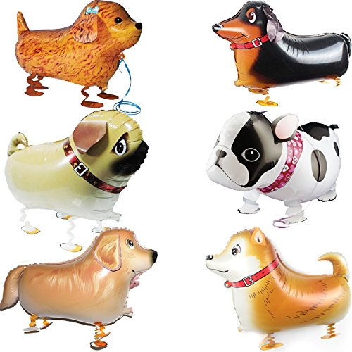 Walking Animal Balloons Pet Dog – 6pcs Puppy Dogs Birthday Party Supplies Kids Theme Decorations
