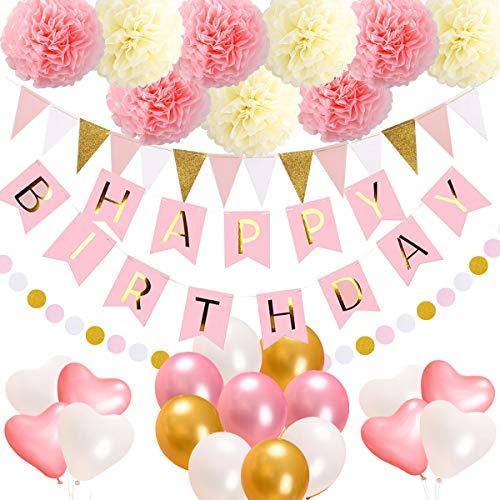 acetek Birthday Decorations Party SuppliesHappy Banner15 Triangle Bunting Flags9 Pom Poms Flowers17 Balloons1 Pink and Gold Dot Garland for Kids Girl 1st Sign