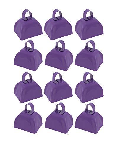 Metal School Cowbells – Set of 12 Purple Cowbell Noisemakers Purple Cowbells