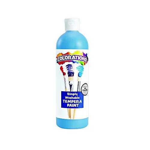 Colorations Washable Tempera Paint 16 Fluid Ounces oz Sky Blue Non Toxic Vibrant Bold Kids Craft Hobby Fun Art Supplies Item # WSTSB