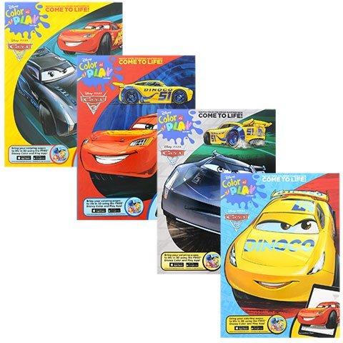 Disney Pixar Cars 3 Color and Play Coloring Activity Books Cruz Ramirez Lightning McQueen Jackson Storm Friends Set of 4