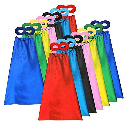 ADJOY Superhero Capes and Masks for Kids Bulk – DIY Children Birthday Party 14sets 28pcs