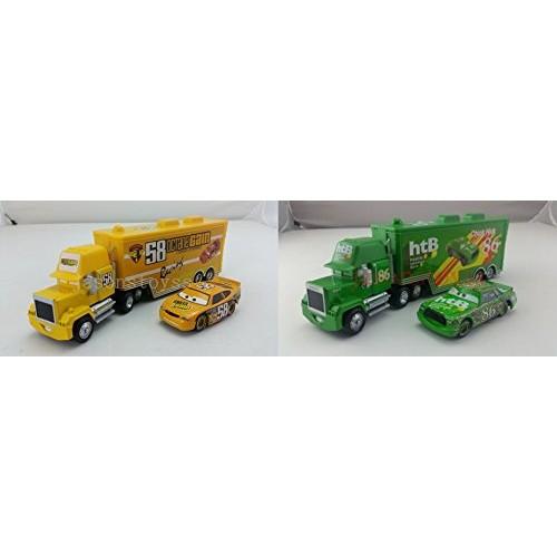 Cars Toys Pixar 1:55 Scale Diecast No58 Shiny Wax & No86 Mack Racer's Truck