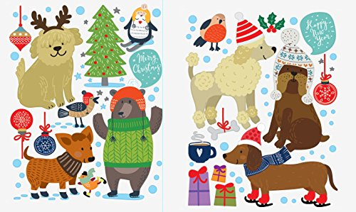 Dogs Wall Decals for Kids – Cute Animal Decorations Stickers Window Clings Ornaments Nursery Decor >30 Art Decals with Free Bird Gift