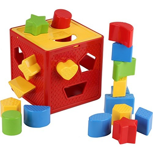 Play22 Baby Blocks Shape Sorter Toy – Childrens Includes 18 Shapes Color Recognition Toys with Colorful Cube Box My First Gift for Boys & Girls Original