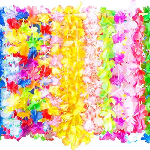 PartySticks 50 Count Hawaiian Leis – Bulk Party Decorations for Luau Tropical Flower Necklaces