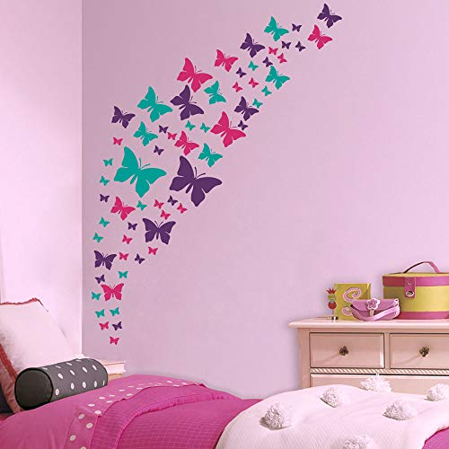 Jeyfel Decals Butterfly Wall Decals- Purple Pink & Turquoise Set DIY Decoration Beautiful Stickers Girls Nursery Room Decor