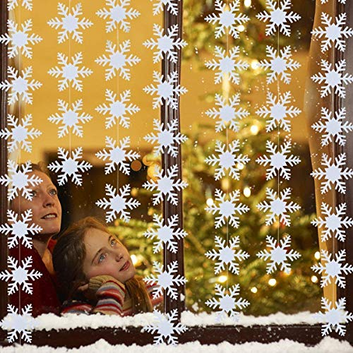 LeeSky 50Pcs White Winter Wonderland Christmas Snowflake Hanging Garland for Holiday New Years Home Decor Party Decorations