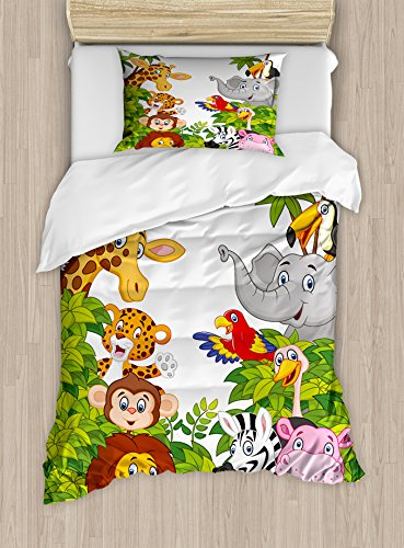 Ambesonne Nursery Duvet Cover Set Cartoon Style Zoo Animals Safari Jungle Mascots Tropical Forest Wildlife Pattern Decorative 2 Piece Bedding with 1 Pillow Sham Twin Size Green White