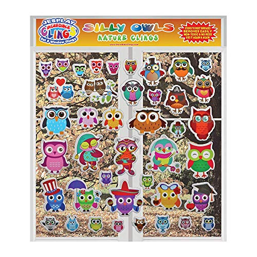 Owls by Incredible Gel and Window Clings – Reusable Removable Puffy Sticker Glass Clings for Kids Toddlers Owl Characters Screech Tawny Snow Home Airplane Classroom Nursery