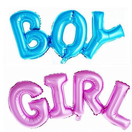 Simple polymer Boy & Girl Alphabet Letters Balloons Foil Mylar for Party Decoration Pink Blue