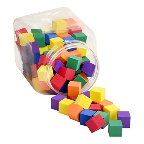 Premium Joy Foam Counting Color Cubes for Kids – Size of 1 Inch Set 120 Pieces Made in Taiwan from Quality Soft Stacking Toy Blocks Math and School
