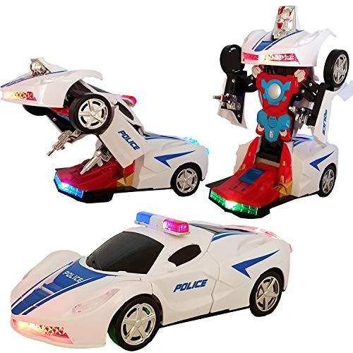Battery Operated Bump and Go Transforming Toys for Kids -Auto Auto Robots Action Figure Toy Vehicles – Realistic Engine Sounds & Beautiful Flash Lights White Police Car