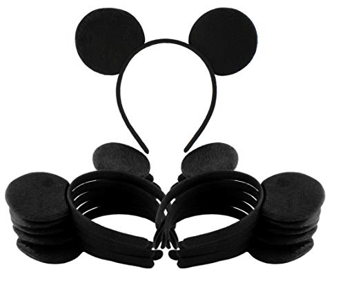 Black Mouse Ear Headbands 12-Pack ; Mickey Style Headgear for Costume Party Favors
