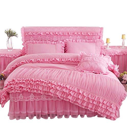 Lotus Karen Rose Princess Bed Sets Multi Layers Ruffles with Lace Girls Bedding Set Romantic Korean Style Cover for 1Duvet 1Bedskirt 2Pillowcases