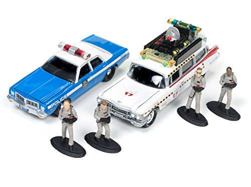 Johnny Lightning JLDR001-GH ECTO 1A 1959 Cadillac Ambulance and 1977 Dodge Monaco New York City Police with Figurines from Ghostbusters 1 Movie 1 64 Diecast Model Cars
