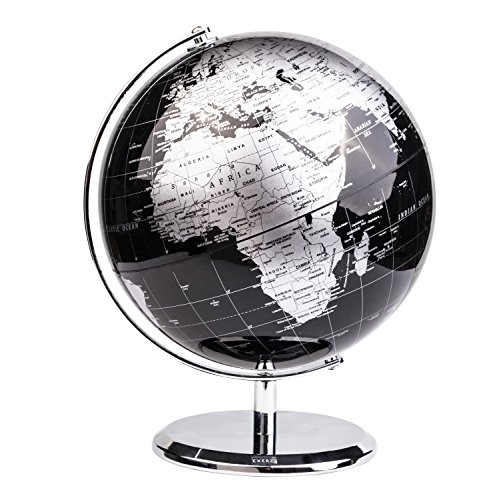 Exerz Metallic World Globe Dia 8-Inch 20cm Black Educational Geographic Modern Desktop Decoration – Stainless Steel Arc and Base Earth for School Home Office