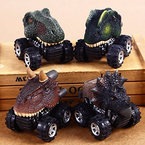 4 Pcs T Rex Dinosaur Pull-back Car Toy Dino Dragon Head Vehicle Mini Monster