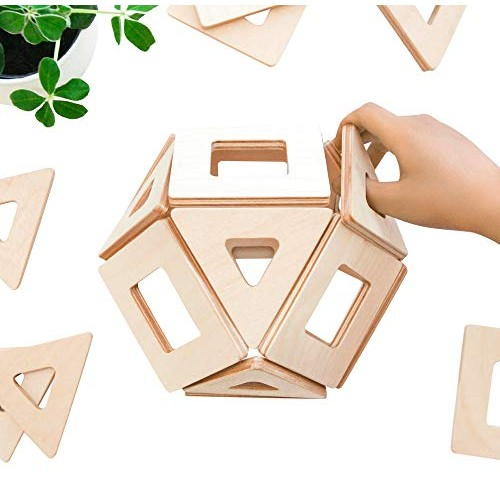 Big Future Toys Magnetic Wooden Blocks for Kids Earthtiles – Tiles 32 Piece Set
