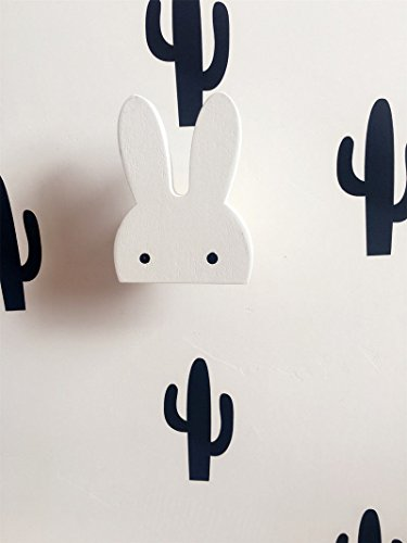 White rabbit Cute Wooden Clothes Hook For Kids Room Wall Decorate Children Hanger