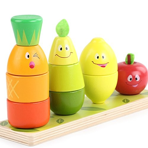 Lewo Wooden Puzzles Educational Toys Fruit Shape Color Sorter Stacking Block Chunky Puzzle for Baby Toddlers Boys Girls