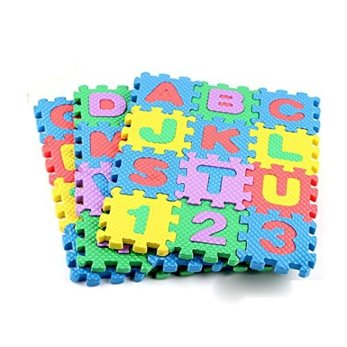 Fineser TM Mini 36pcs EVA Puzzle Kid Toy Alphabet Letters Numeral Foam Mat Education Toys